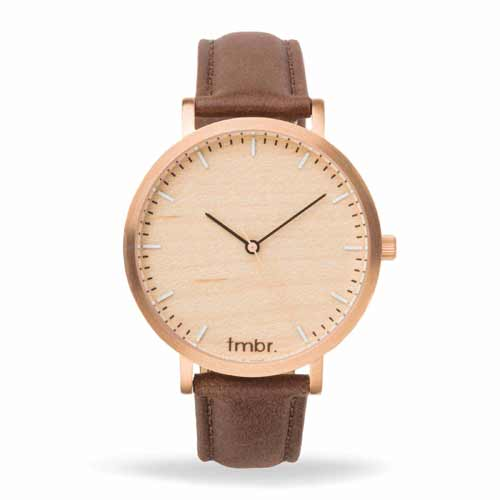 Engraved Wooden Watches - Helm Minimalist Wooden Personalized Watch Rose Gold