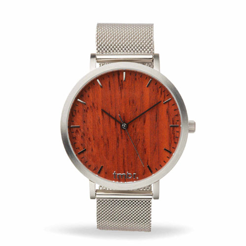Engraved Wooden Watches -  Helm Wood Watch Metal Band Silver Rosewood