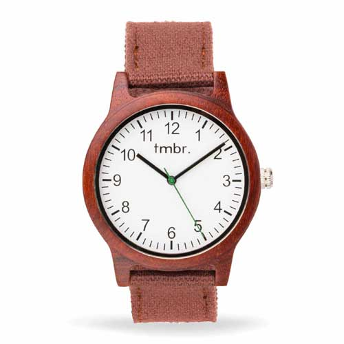 Engraved Engraved Wooden Watches -  Ridgeline Rosewood Watch Canvas Band