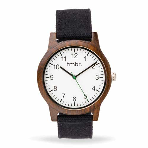 Tmbr Ridgeline Wood Watch With Leather Band