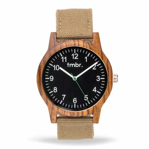 Engraved Wooden Watches -  Ridgeline Wood Watch Canvas Band