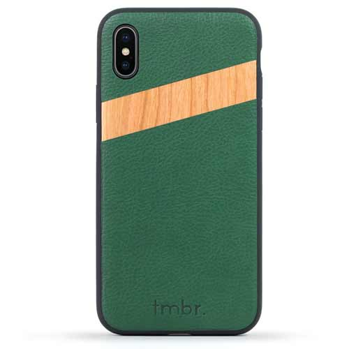Green Leather and Wood iPhone X Case
