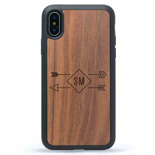 iPhone Wood Case Monogram Arrows