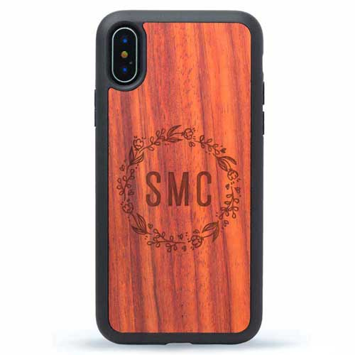 iPhone X Wood Case Monogram Floral