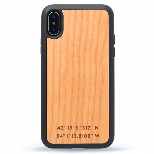 iPhone Wood Case Monogram GPS