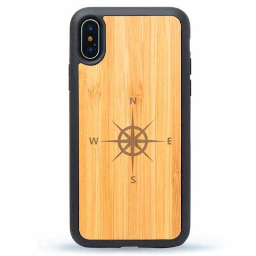Wind Rose - Engraved Real Wood iPhone X Case