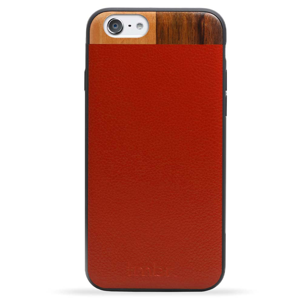 Leather/Wood iPhone 6/6s Case Maroon