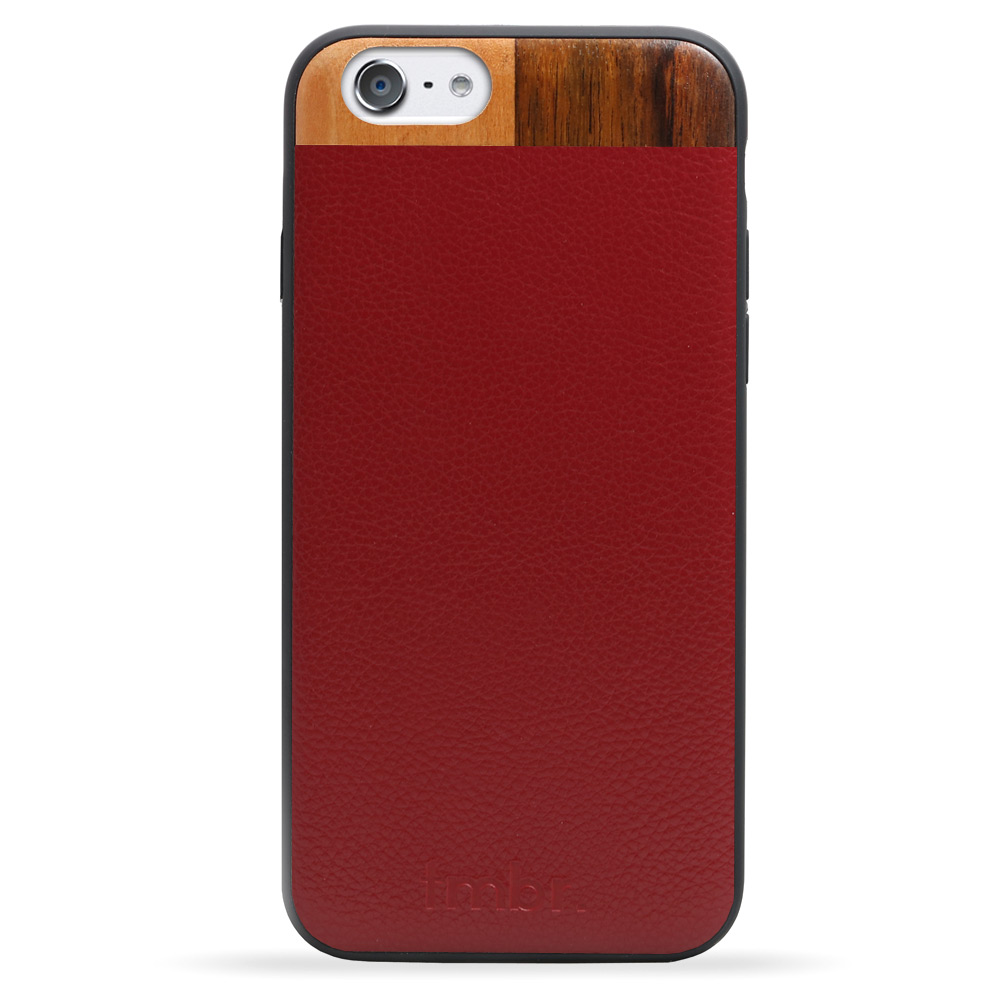 Maroon Leather & Wood iPhone 7 Phone Case