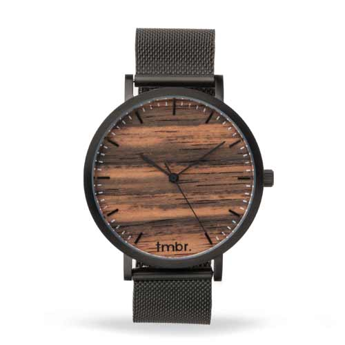 Helm Wood Watch Metal Band Black Sandalwood