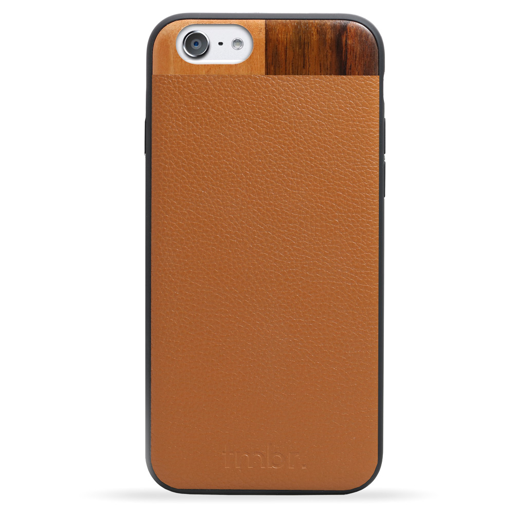 Tan Leather & Wood iPhone 7 Phone Case
