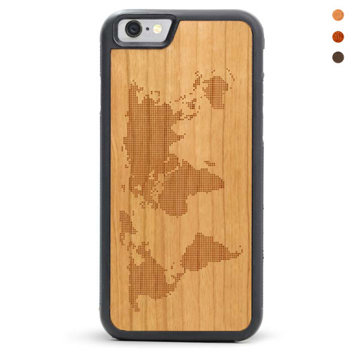 World Map - Engraved Wood iPhone SE Phone Case