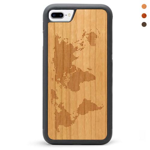 Engraved Wood iPhone 7 Plus Case Map