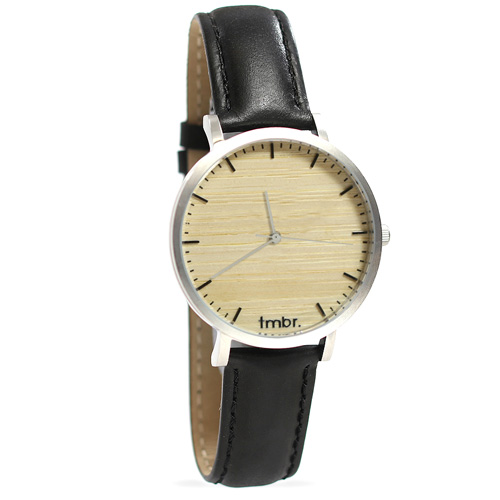 Tmbr Helm Minimalist Wooden Personalized Watch Silver Cottonwood