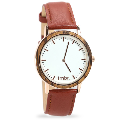 Tmbr Rose Gold Spruce Wood Watch