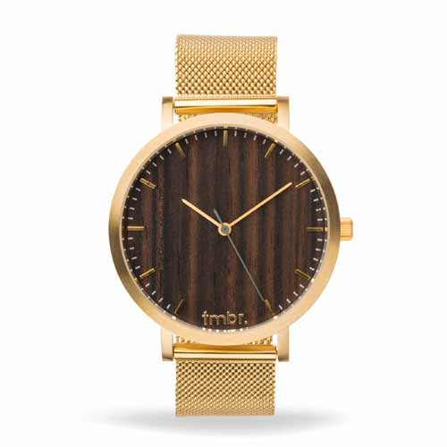 Engraved Wooden Watches -  Helm Wood Watch Metal Band Walnut Gold