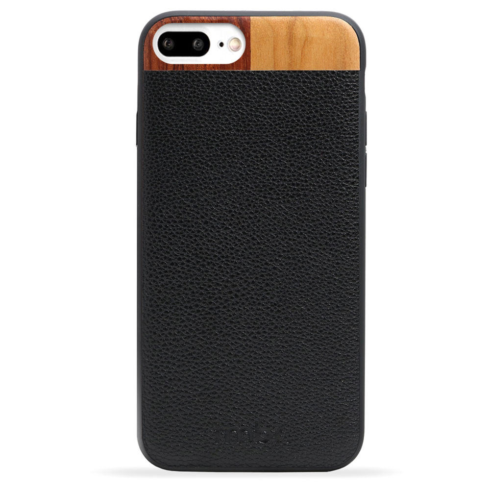 Black Leather & Wood iPhone 7 plus Phone Case