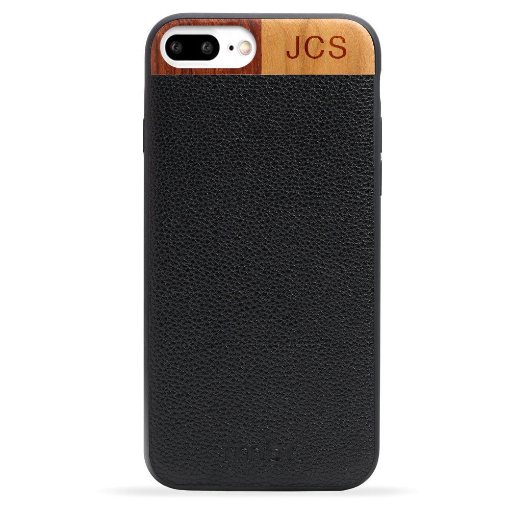 Black Monogram Leather & Wood iPhone 7 plus Phone Case