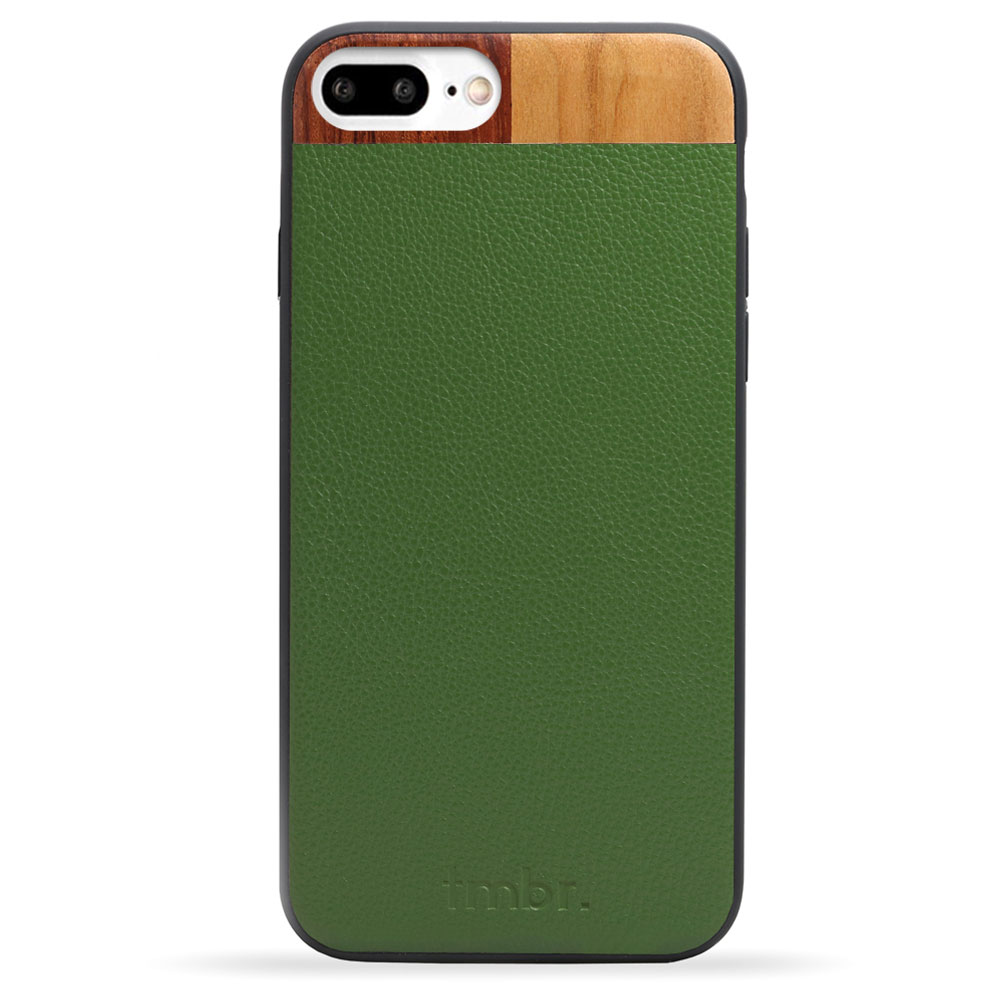 Green Leather & Wood iPhone 7 plus Phone Case