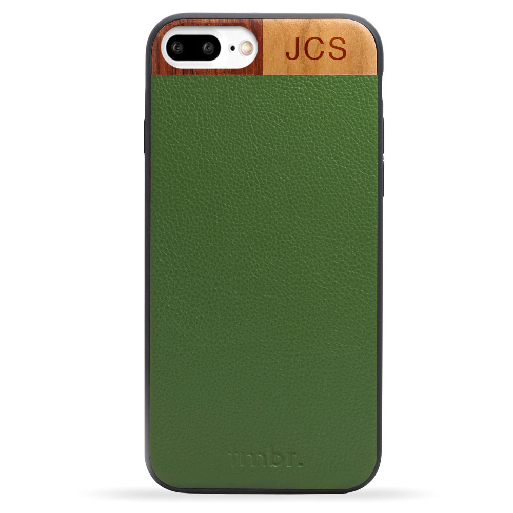 Green Monogram Leather & Wood iPhone 7 plus Phone Case