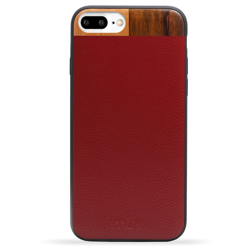 Maroon Leather & Wood iPhone 7 plus Phone Case