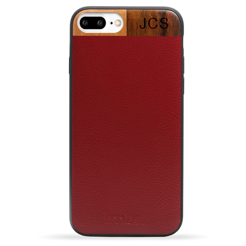 Maroon Monogram Leather & Wood iPhone 7 plus Phone Case