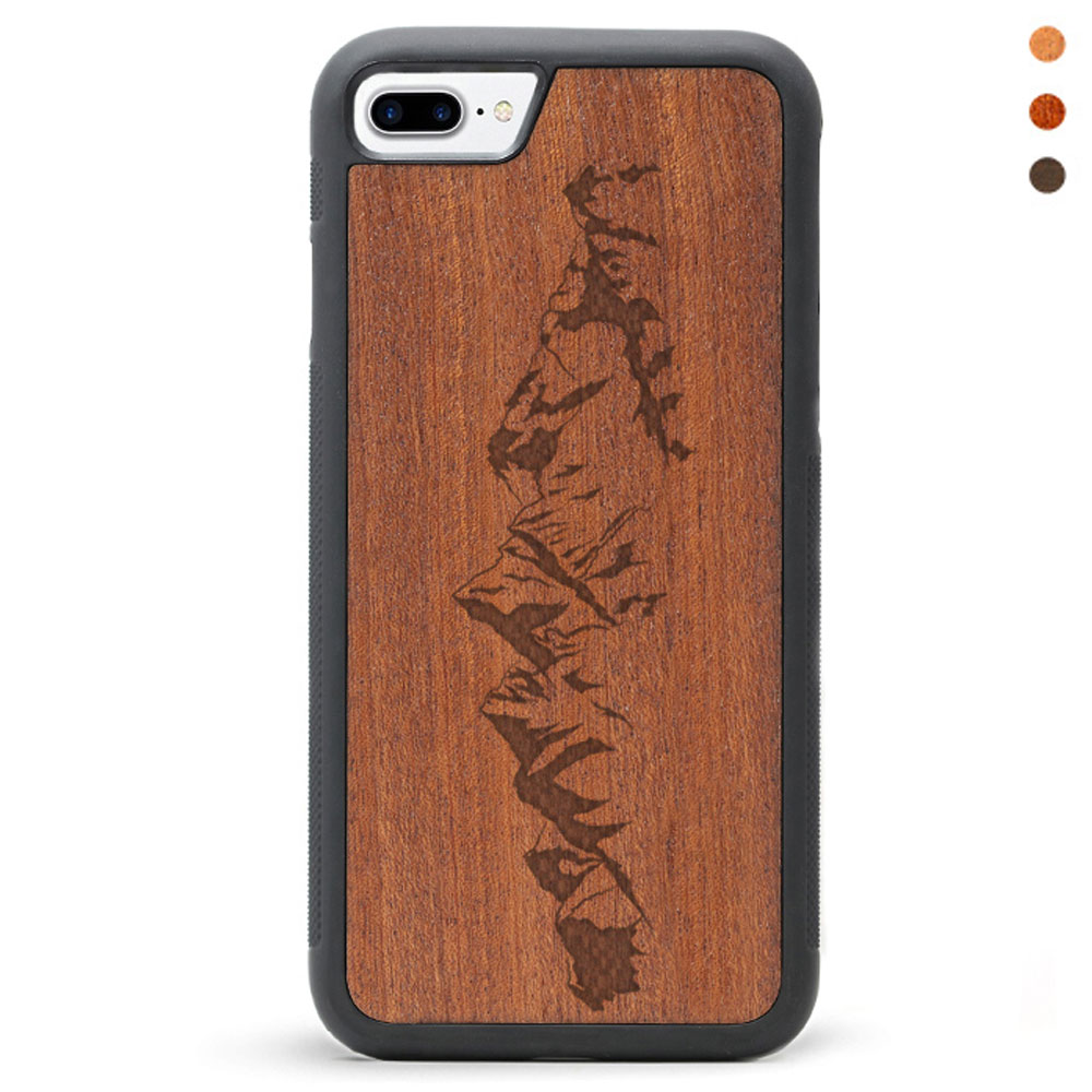Engraved Wood iPhone 8 Case Mountains
