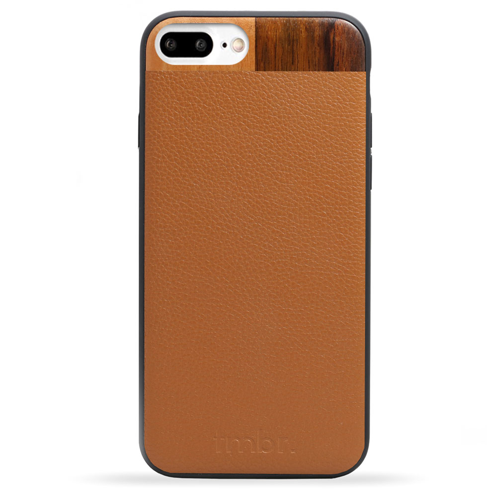 Tan Leather & Wood iPhone 7 plus Phone Case