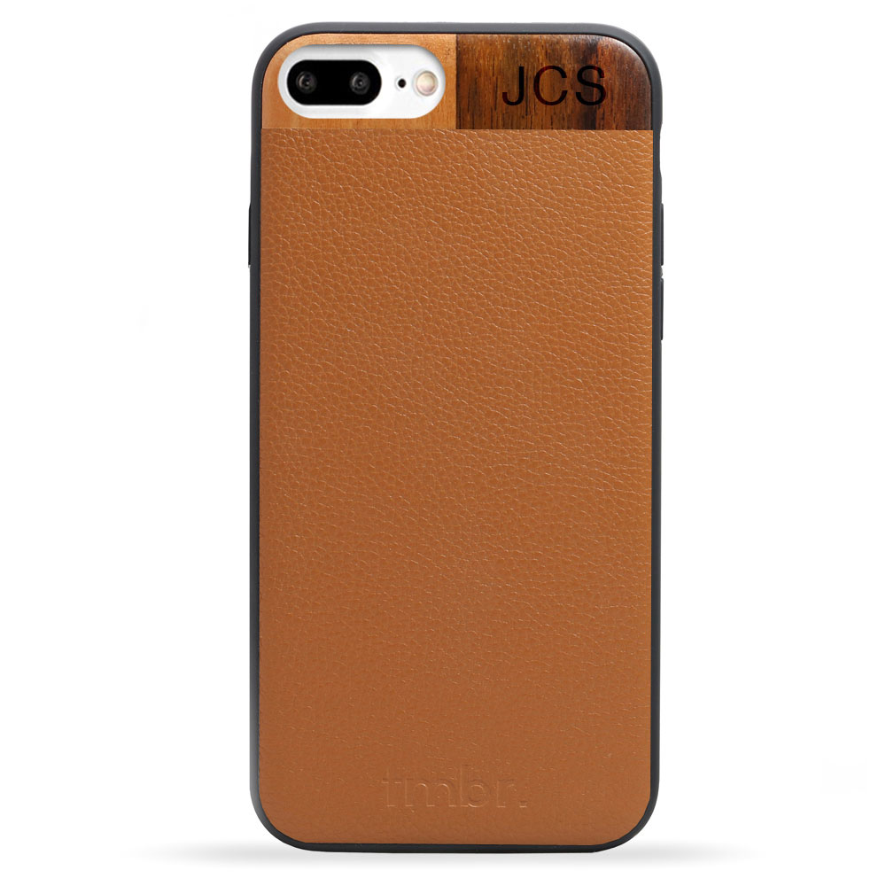 Tan Monogram Leather & Wood iPhone 7 plus Phone Case