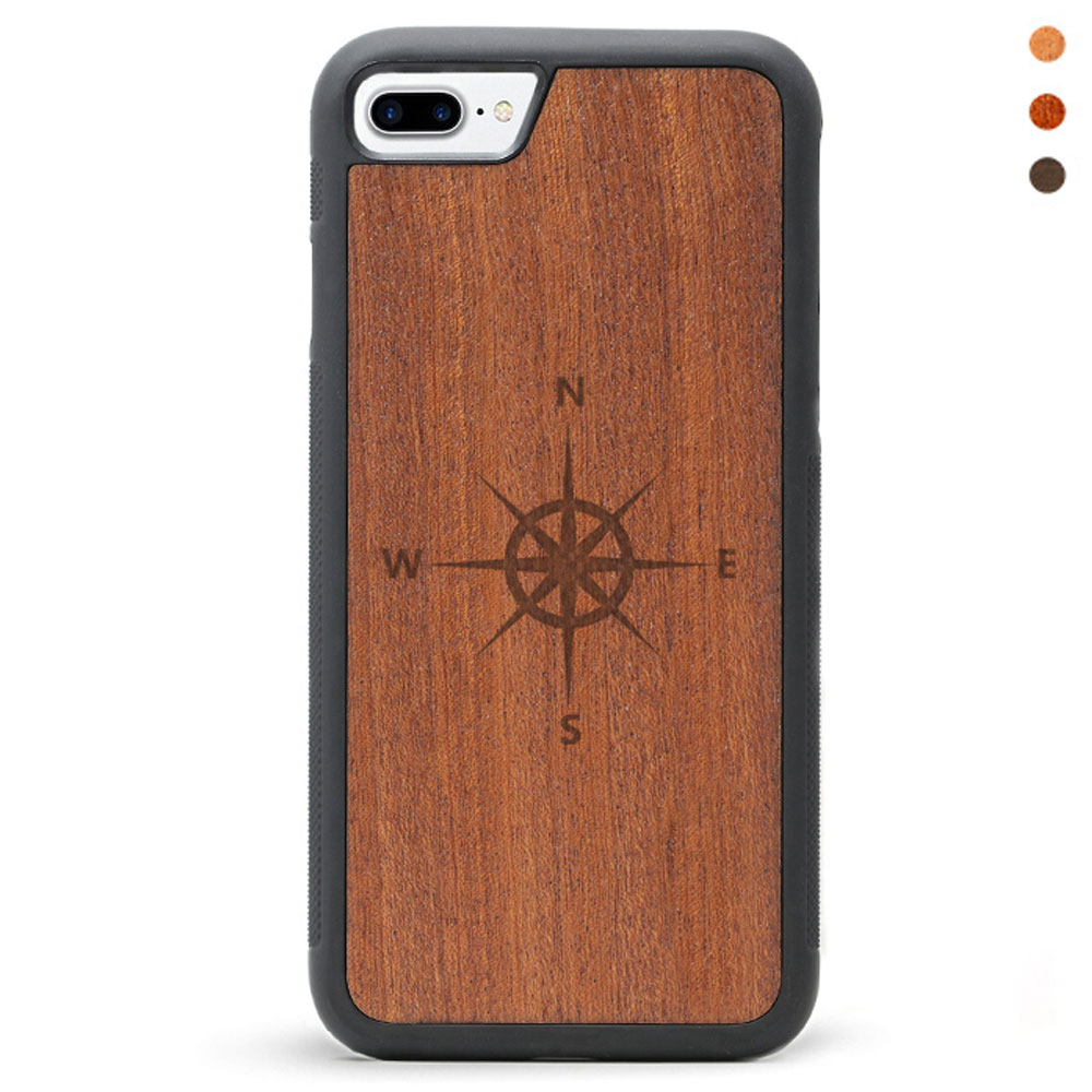 Engraved Wood iPhone 8 Case Wind Rose