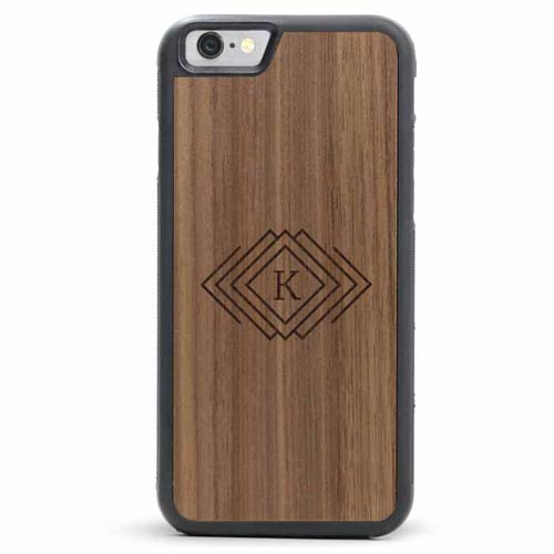 Diamonds Engraved Wooden Phone Case
