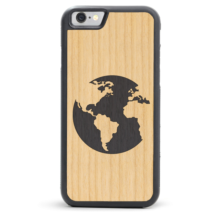 World Map Phone Case Wood