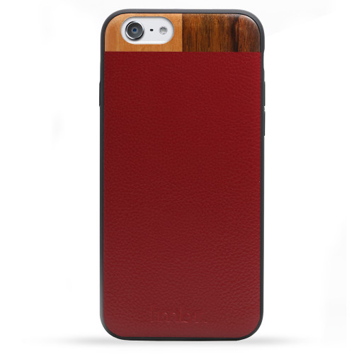 new style a8aa3 a4d69 Leather & Wood iPhone 6/6s Case - Maroon