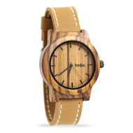 Men's Zebrawood Watch with Leather Strap
