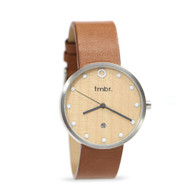 Cherry Wood & Brushed Silver Watch - The Mill