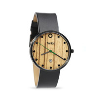 Brushed Black & Zebrawood Watch - Genuine Black Leather Strap