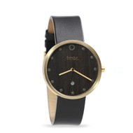 Brushed Gold & Walnut Wood Watch - Genuine Black Leather Strap