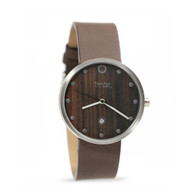 Brushed Silver & Walnut Wood Watch - Genuine Dark Brown Leather Strap