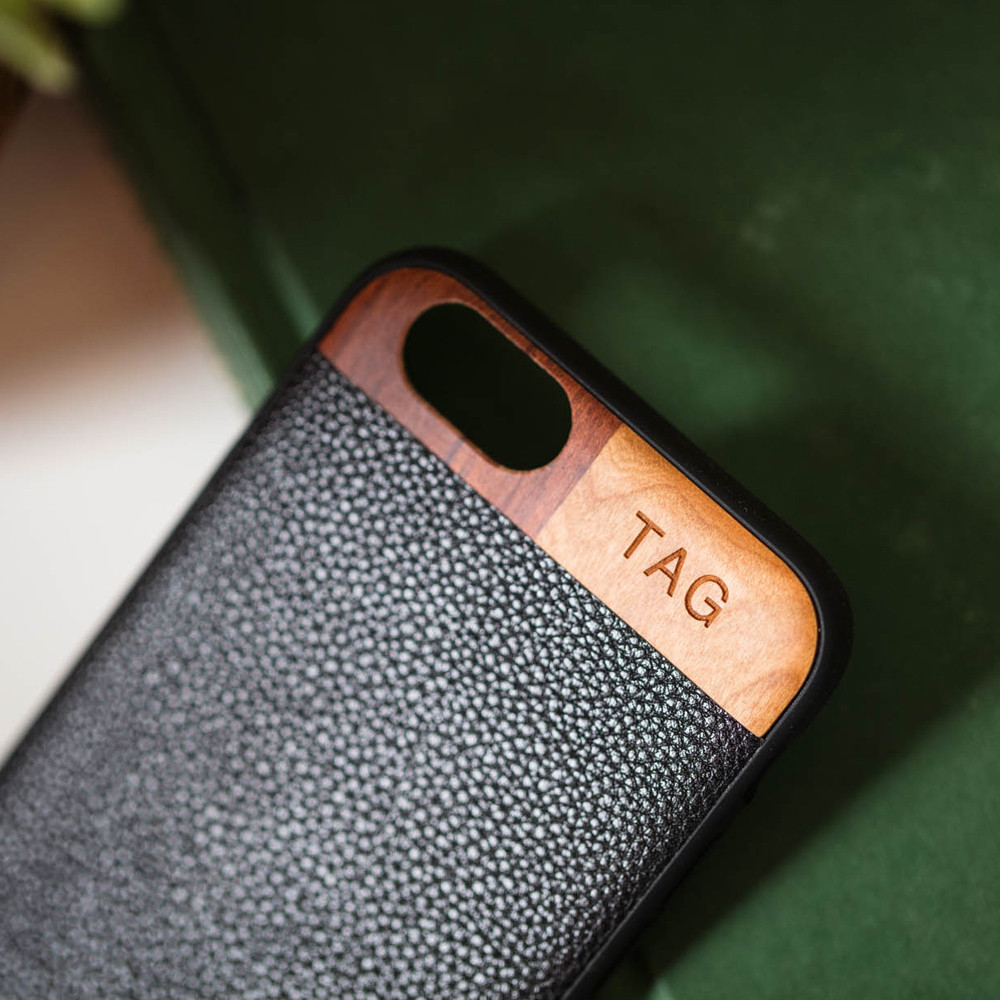 reputable site c6a76 a8688 Monogrammed Leather/Wood iPhone 6/6s Case - Black | Tmbr.