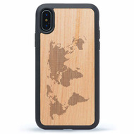 World Map Design iPhone X Wood Case