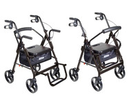 Duet Black Transport Wheelchair Rollator Walker - 795bk