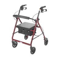 Red Rollator Walker with Fold Up and Removable Back Support and Padded Seat - r726rd