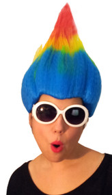 rainbow troll costume wig