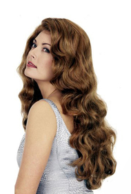long wavy golden brown real human hair wig