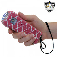 Stylish, White and Coral Quatrefoil Ladies Choice Streetwise Stun Gun