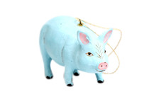 Blue Pig Papier-Mâché Ornament