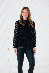 Sail to Sable Leopard Ruffle Neck Top
