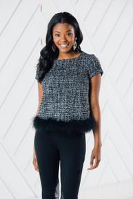 Sail to Sable Short Sleeve Tweed Top with Faux Fur Trim
