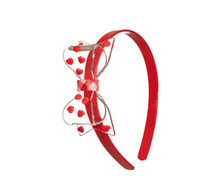 Lilies & Roses Fat Bow Headband w/ Hearts - Red