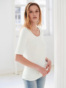 White + Warren Cotton Modal Elbow Sleeve Scoop Neck Tee - White