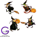 Halloween Witches Set of 4 Fused Glass Decals